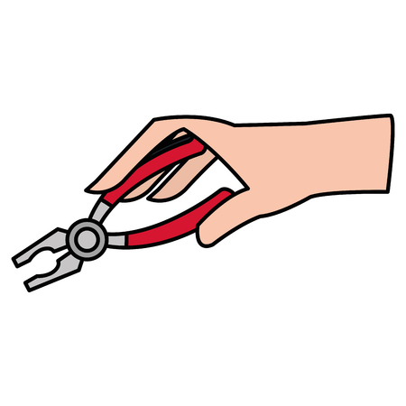 hand with pliers tool isolated icon vector illustration design Ilustrace