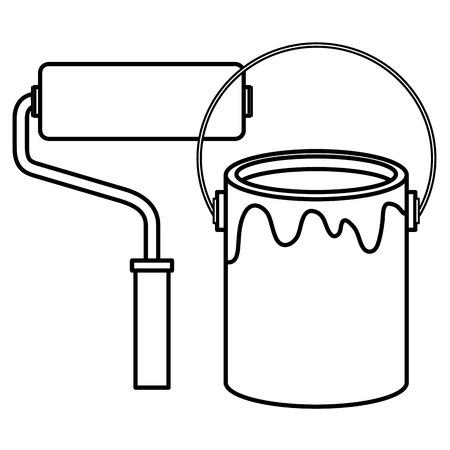 roller paint with pot vector illustration design Vettoriali