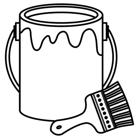 paint brush with pot vector illustration design