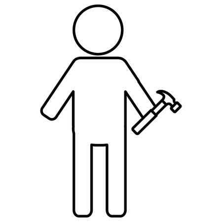 constructor silhouette with hammer vector illustration design