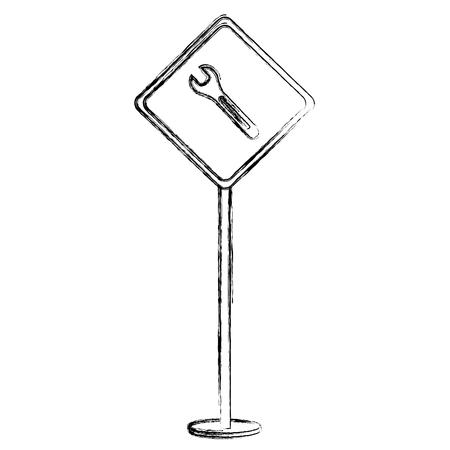 レンチ ベクトル イラスト デザインと建設の注意信号