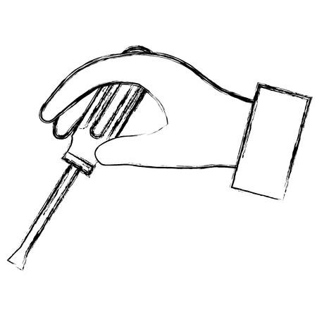 hand with screwdriver tool vector illustration design Illustration