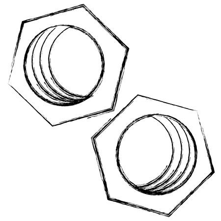 육각형 너트 절연 아이콘 벡터 일러스트 디자인