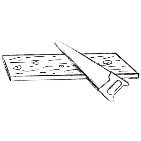 handsaw tool with wooden board vector illustration design Illustration