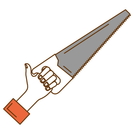 Hand with saw tool icon. Illustration