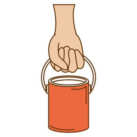 hand with paint pot isolated icon vector illustration design