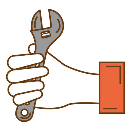 hand with wrench key isolated icon vector illustration design Imagens - 91073792