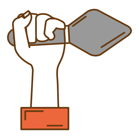 Hand with spatula tool isolated icon.