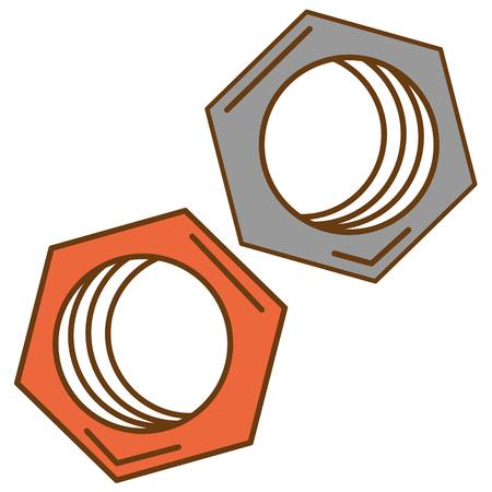 六角ナット分離アイコン ベクトル イラスト デザイン