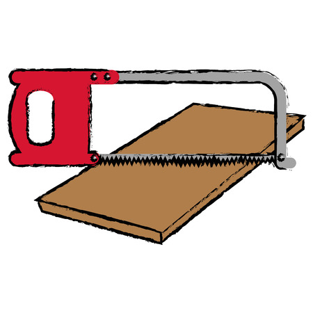 Handsaw tool with wooden board vector illustration