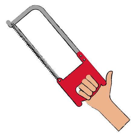 hand with saw tool isolated icon vector illustration design Stock Vector - 91073981