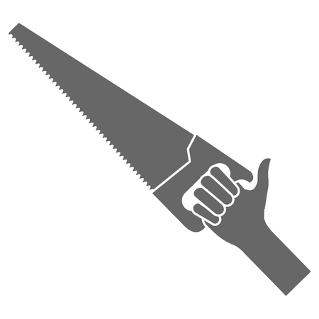 hand with handsaw tool vector illustration design