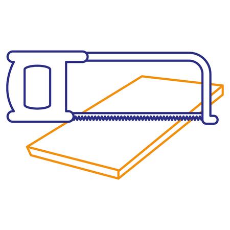 handsaw tool with wooden board vector illustration design Stock Vector - 91074181
