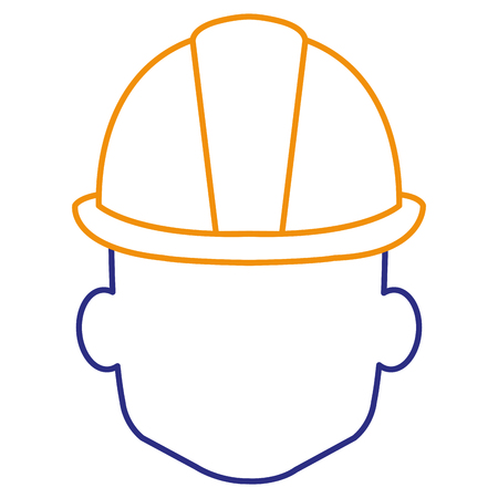 head with helmet construction isolated icon vector illustration design