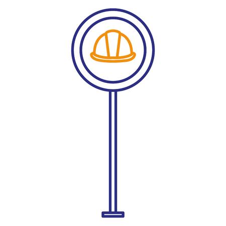 construction caution signal with helmet vector illustration design Illustration
