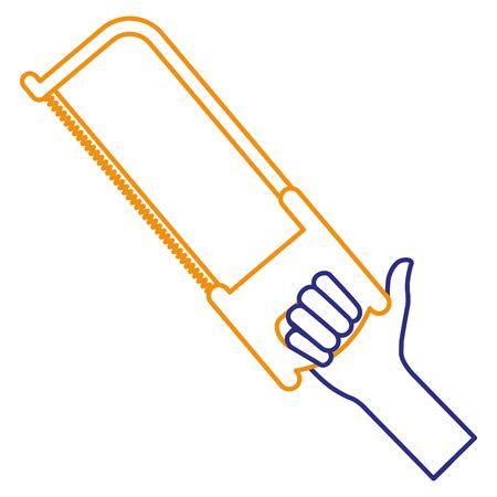 hand met ontwerp van de het pictogram vectorillustratie van de zaag het hulpmiddel geïsoleerde