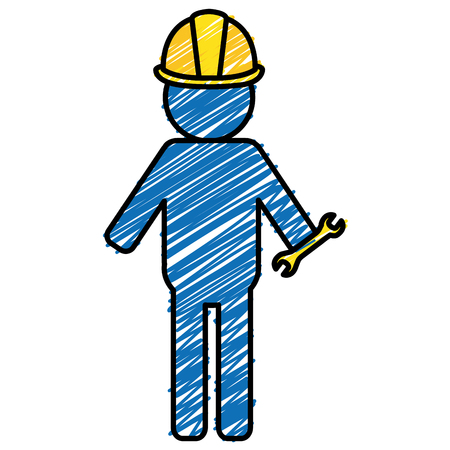 Constructor silhouette with wrench vector illustration design.