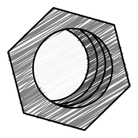 六角形のナット分離アイコンベクトルイラストデザイン。  イラスト・ベクター素材