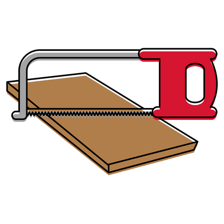 handsaw tool with wooden board vector illustration design Stock Vector - 91074256