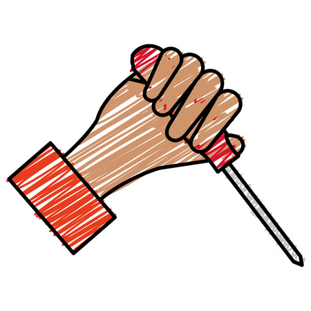 hand with screwdriver tool vector illustration design Imagens - 91074311