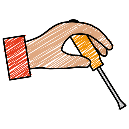 hand with screwdriver tool vector illustration design Illustration