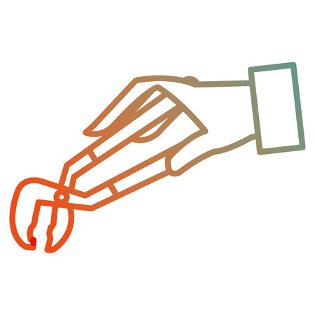 hand with clamp tool isolated icon vector illustration design