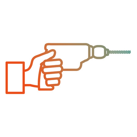 hand with drill electric tool isolated icon vector illustration design