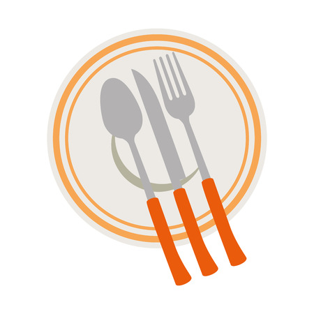 set cutlery tools in cup vector illustration design Çizim