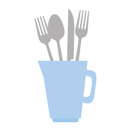 Set of cutlery tools in cup icon. Illustration