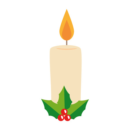 christmas paraffin candle with leafs vector illustration design Illustration