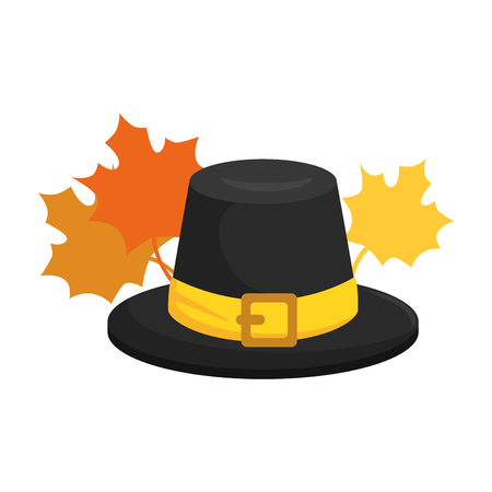 thanksgiving hat with mapple leafs vector illustration design Ilustrace