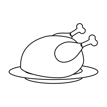 dish with chicken thighs isolated icon vector illustration design Ilustração