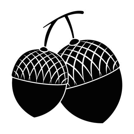ナッツ フルーツ分離アイコン ベクトル イラスト デザイン  イラスト・ベクター素材
