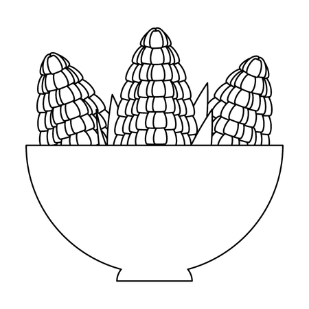 bowl with corn fresh vector illustration design Çizim