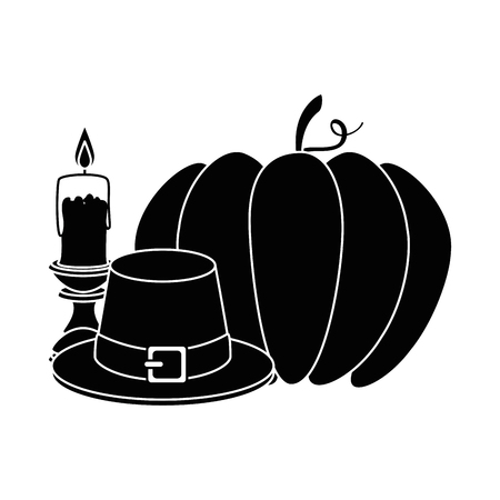 pumpkin fresh with thanksgiving hat and candle vector illustration
