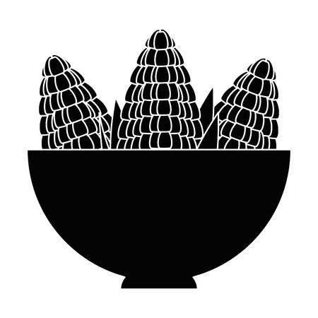 bowl with corn fresh vector illustration design Illustration