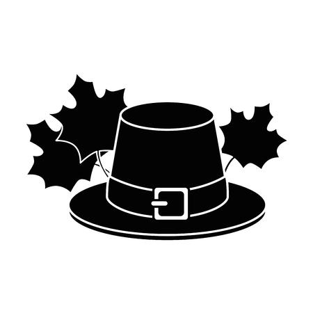 thanksgiving hat with mapple leafs vector illustration design Illustration
