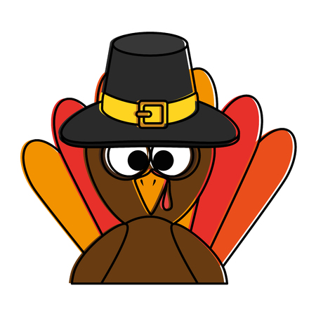thanksgiving turkey with hat character icon vector illustration design