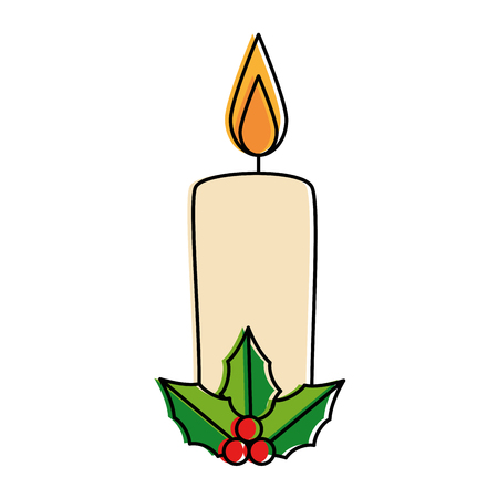 christmas paraffin candle with leafs vector illustration design Çizim