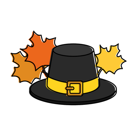 A thanksgiving hat with maple leafs vector illustration design