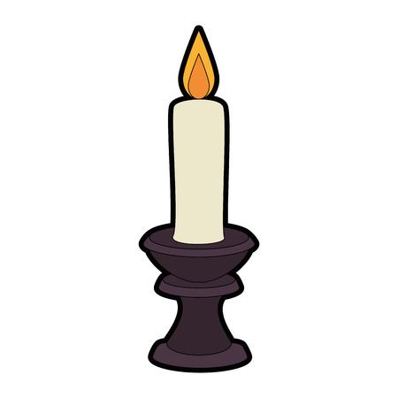 paraffin candle in candlestick vector illustration design
