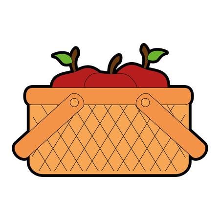 basket with apples icon vector illustration design Illustration