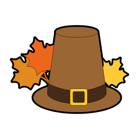 thanksgiving hat with mapple leafs vector illustration design Çizim