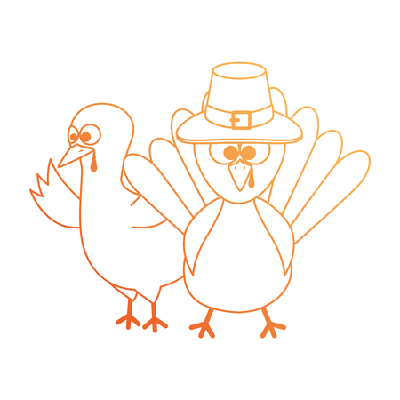 thanksgiving turkeys with hat character icon vector illustration design