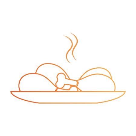 치킨 허벅지 접시 격리 아이콘 그림 디자인