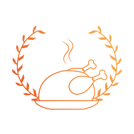 dish with chicken isolated icon vector illustration design