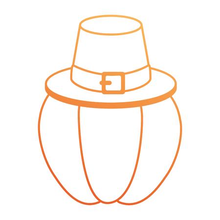 Pumpkin fresh with thanksgiving hat vector illustration design
