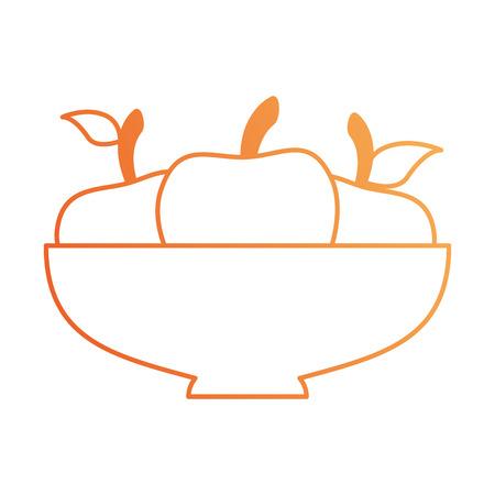 Bowl with apples fresh vector illustration design Çizim
