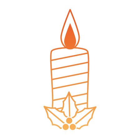 Christmas paraffin candle with leafs vector illustration design
