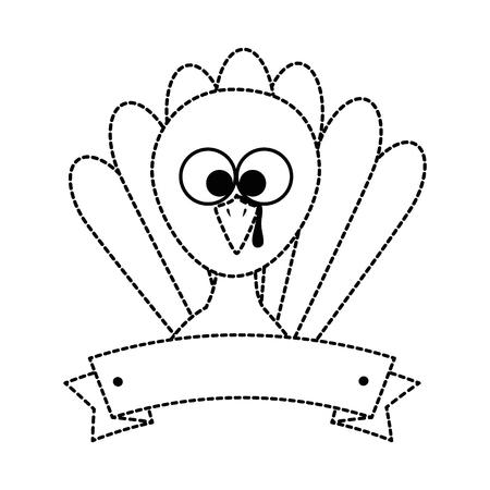 thanksgiving turkey character icon vector illustration design